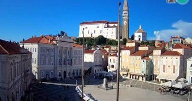 Piran – Tartinijev tér, élő webkamerák Szlovéniában